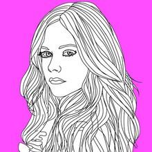cantante, Dibujos de AVRIL LAVIGNE para colorear