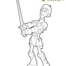 Dibujo para colorear : Justin con su espada
