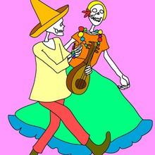 esqueleto, Dibujos para colorear DIA DE MUERTOS