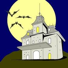 Halloween, Dibujos para colorear CASA ENCANTADA