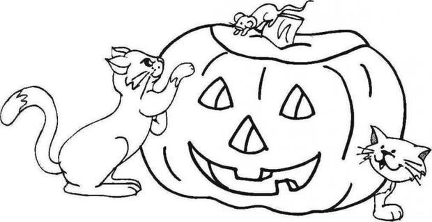 Dibujos para colorear una calabaza con un rat n y un gato - Pintar una calabaza de halloween ...