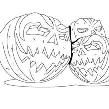 Dibujo para colorear : halloween: calabazas con velas