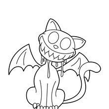 Dibujo para colorear : Gato murciélago