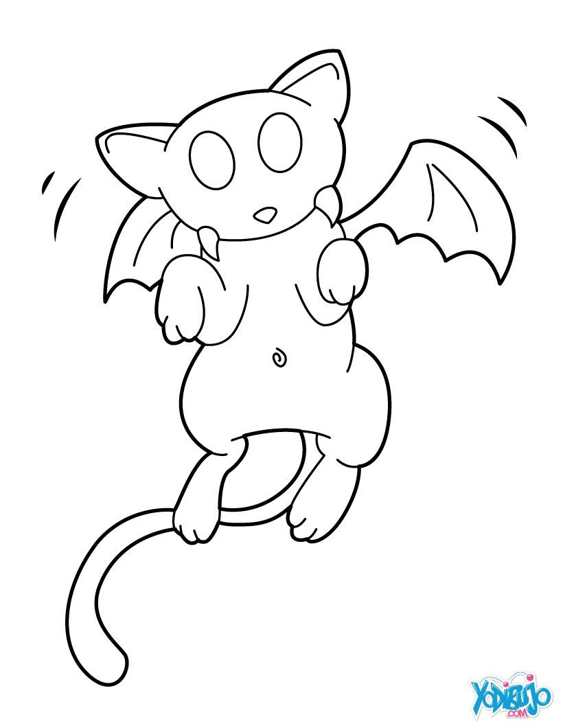 Dibujos para colorear gato vámpiro - es.hellokids.com