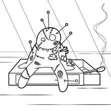 Dibujo para colorear : Muñeca Vudu quemada
