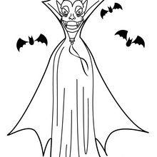 Dibujo para colorear : Murciélagos y vámpiro