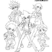 Dibujo para colorear : Grupo BEYBLADE 5 personajes