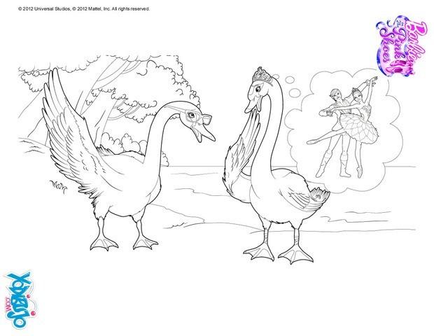 Dibujos para colorear bailarinas transformadas en cisnes  es