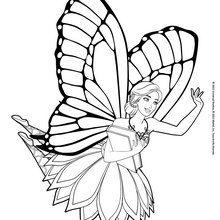 Dibujo para colorear : El hada Barbie Mariposa