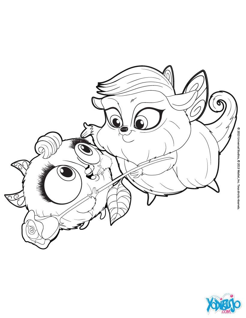 Dibujos para colorear las mascotas zee y anu - es.hellokids.com