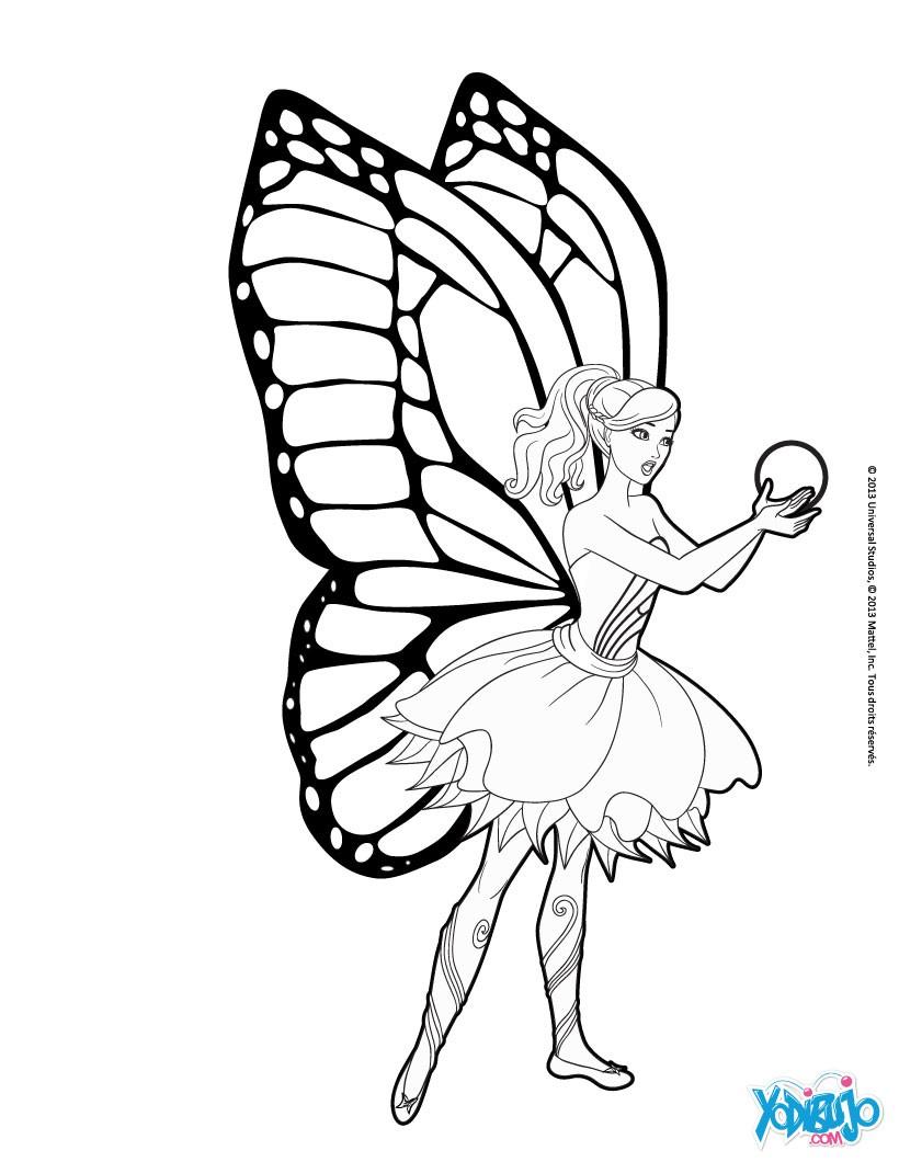Dibujo para colorear : Barbie Mariposa y la flor de Flutterfield