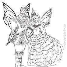 Dibujo para colorear : La princesa Catania y el Rey Regellius