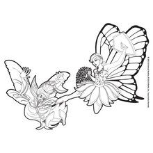 Dibujo para colorear : Henna con Barbie Mariposa