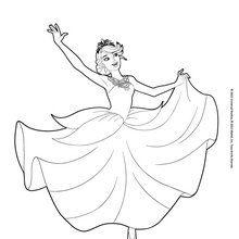 Dibujo para colorear : La princesa Catania bailando