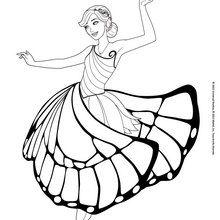 Dibujo para colorear : Barbie Mariposa bailando