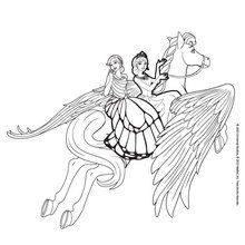 Dibujo para colorear : Catania y Mariposa montan a horcajadas
