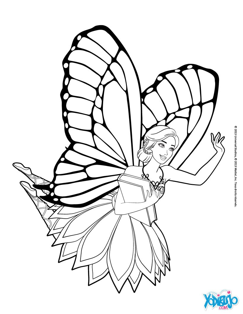 Dibujos para colorear el hada barbie mariposa - es.hellokids.com