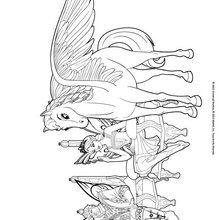 Dibujo para colorear : El caballo alado, el rey y la princesa Shimmervale