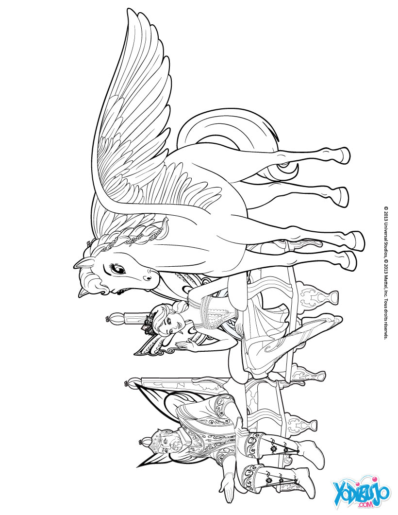 Dibujos para colorear el caballo alado, el rey y la princesa ...