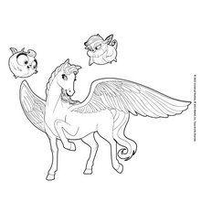 Dibujo para colorear : El caballo alado, Zee y Anu