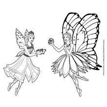 Dibujo para colorear : Catania y Barbie Mariposa en el reino de Shimmervale