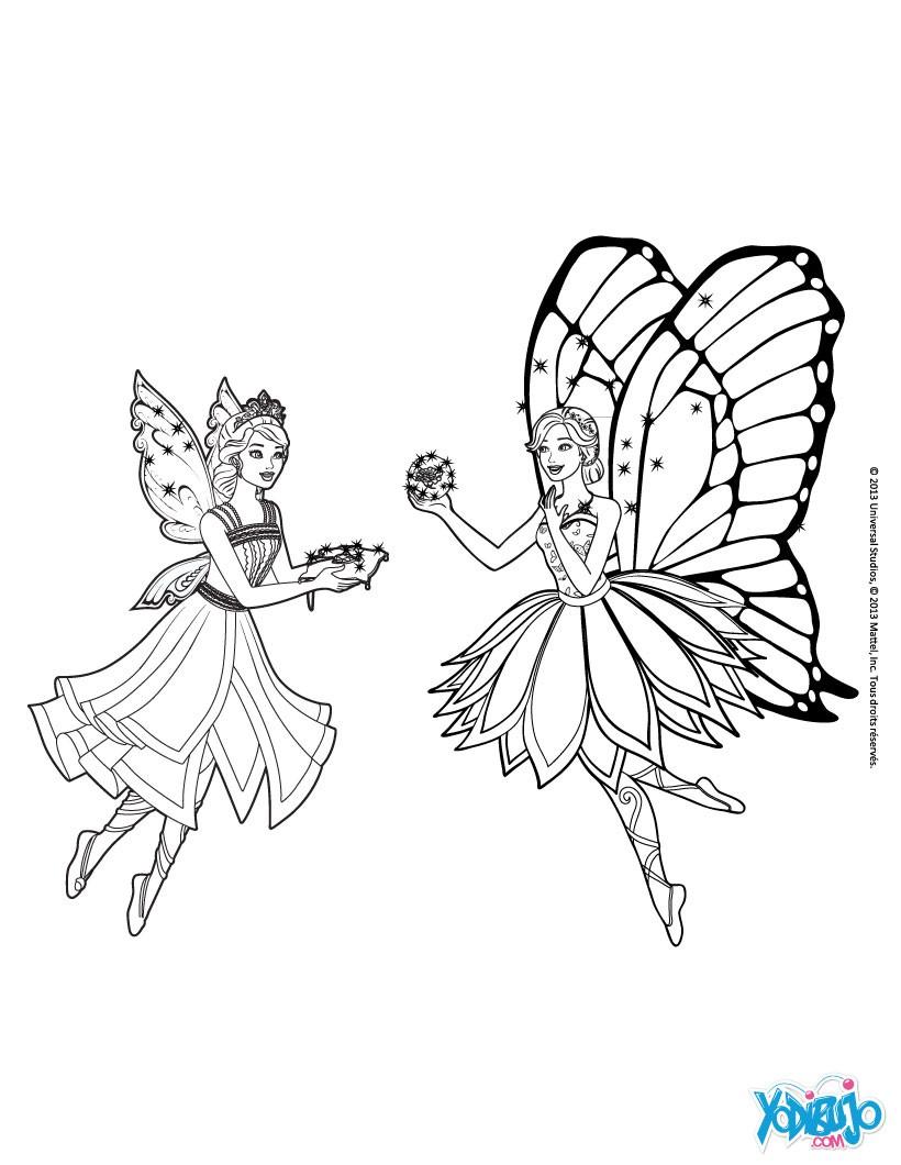 Dibujos para colorear catania y barbie mariposa en el reino de