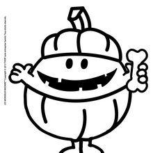 Dibujo para colorear : Don Feliz disfrazado de calabaza
