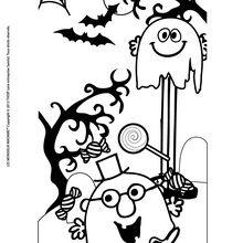 Dibujo para colorear : Feliz Halloween de parte de los Señordones