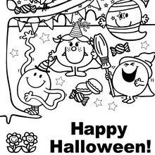 Dibujo para colorear : Feliz fiesta de Halloween a todos