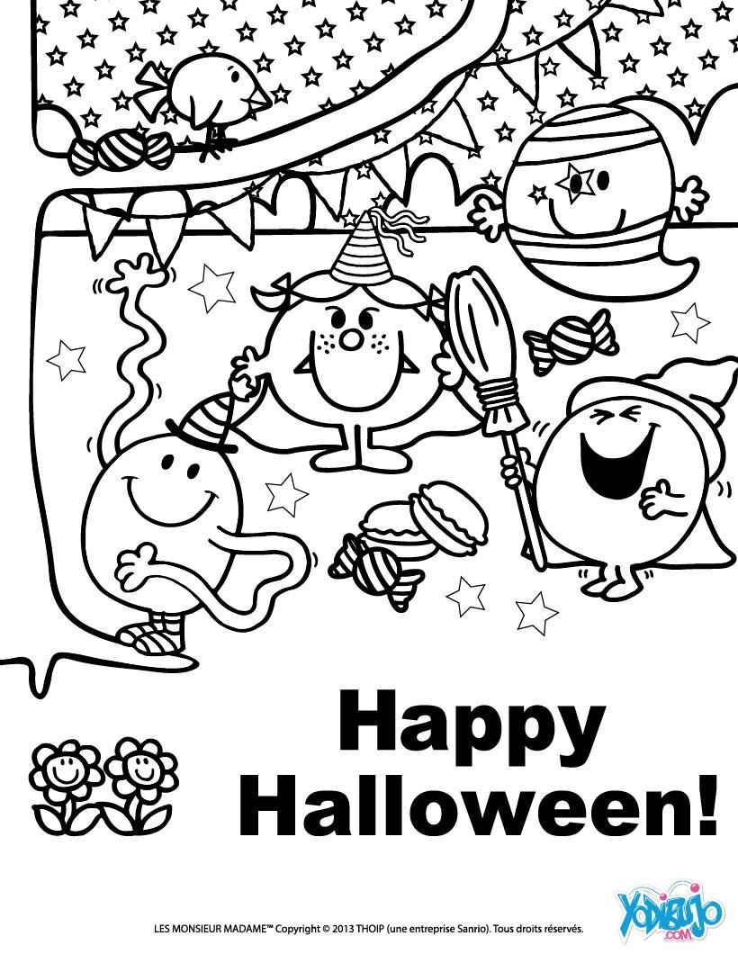 Contemporáneo Feliz Halloween Para Colorear Imagen - Dibujos Para ...
