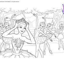 Dibujo para colorear : Bailarina Cristina en el Lago de los Cisnes