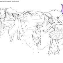 Dibujo para colorear : Bailarina Odette en el ballet hechizado