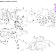 Dibujo para colorear : Bailarina Tara en El lago de los Cisnes