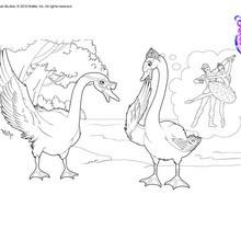 Dibujo para colorear : Bailarinas transformadas en cisnes