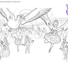 Dibujo para colorear : Bailarinas vuelan como cisnes