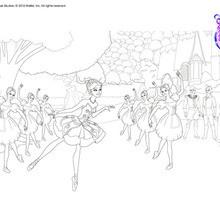 Dibujo para colorear : Giselle y cuerpo de Baile