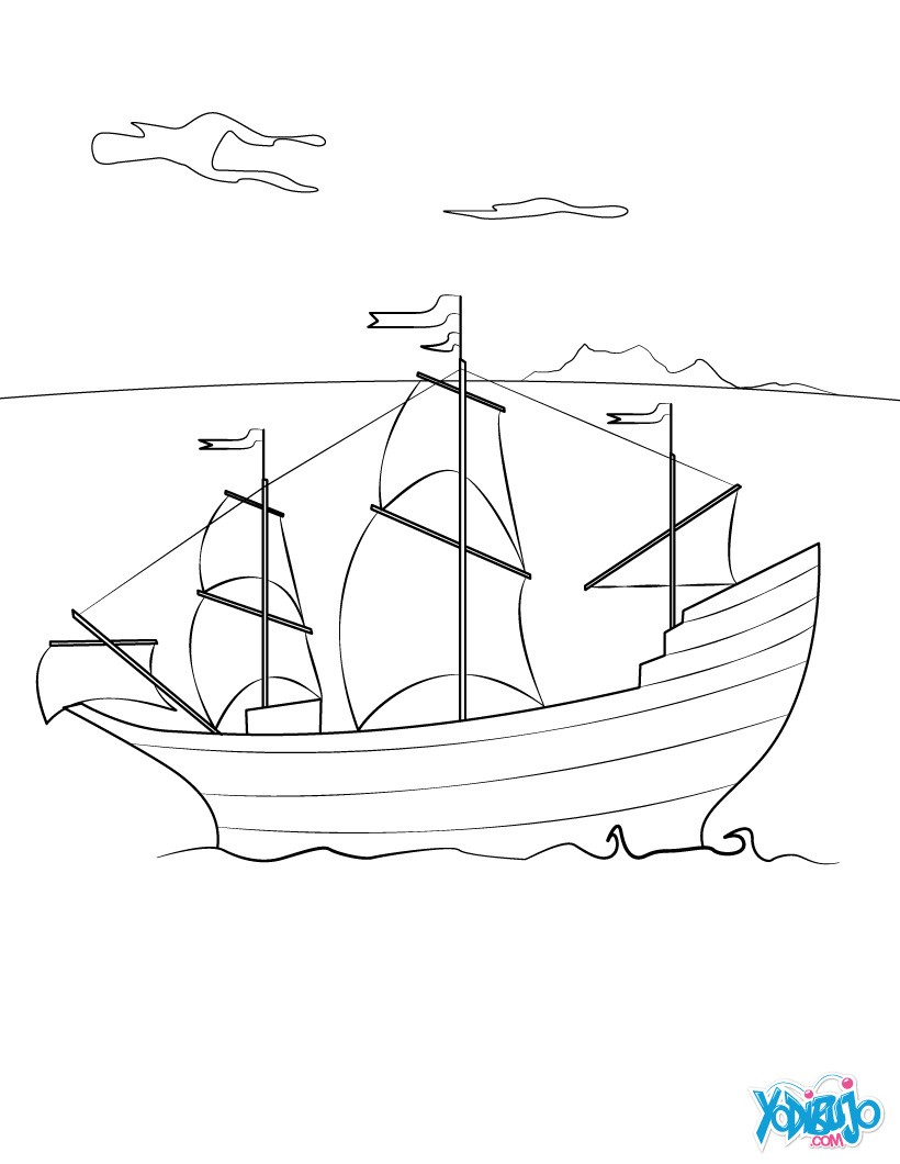 Dibujos para colorear barco el mayflower - es.hellokids.com