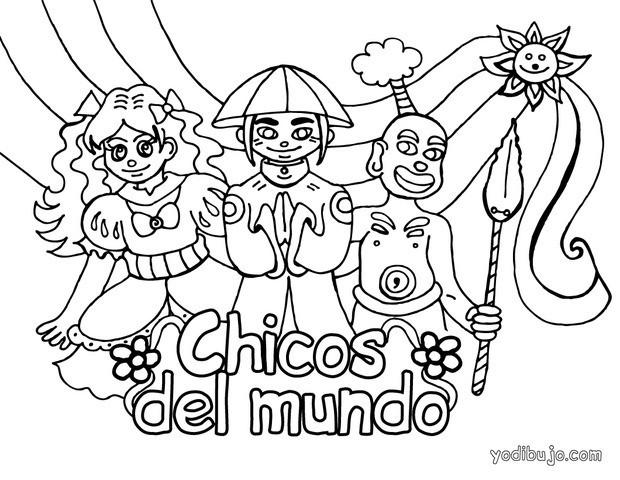 Dibujos para colorear niños del mundo - es.hellokids.com