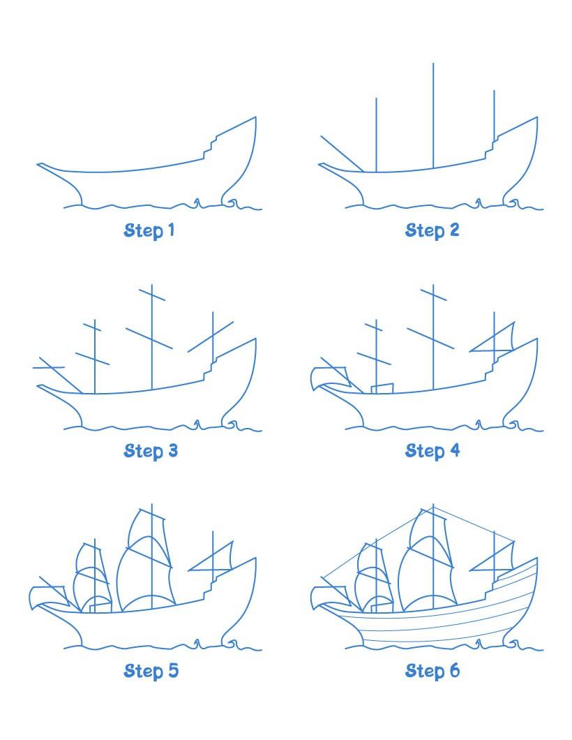 Aprender a dibujar barco el mayflower - es.hellokids.com