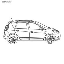 Dibujo para colorear : Coche Scénic Authentique de perfil