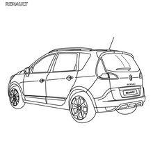 Dibujo para colorear : Coche Renault Scénic Authentique parte de atrás