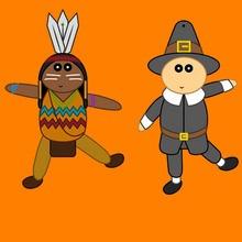 Títeres articulados de Pilgrim e Indio
