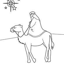 Dibujo para colorear : Rey mago y su dromedario