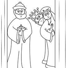 Dibujo para colorear : Llegada de los tres reyes magos