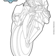 Dibujo para colorear : Max Steel y su motocicleta