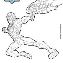 Dibujo para colorear : Mas Steel con su pistola