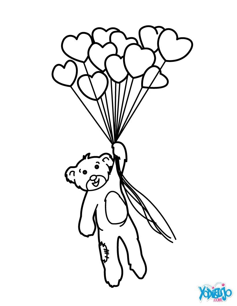 Dibujos para colorear globos corazon - es.hellokids.com