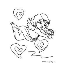 Dibujo para colorear : Querubín y rosa