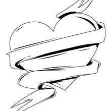 Dibujo para colorear : Corazón envuelto