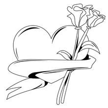 Dibujo para colorear : Ramo de corazon y rosas